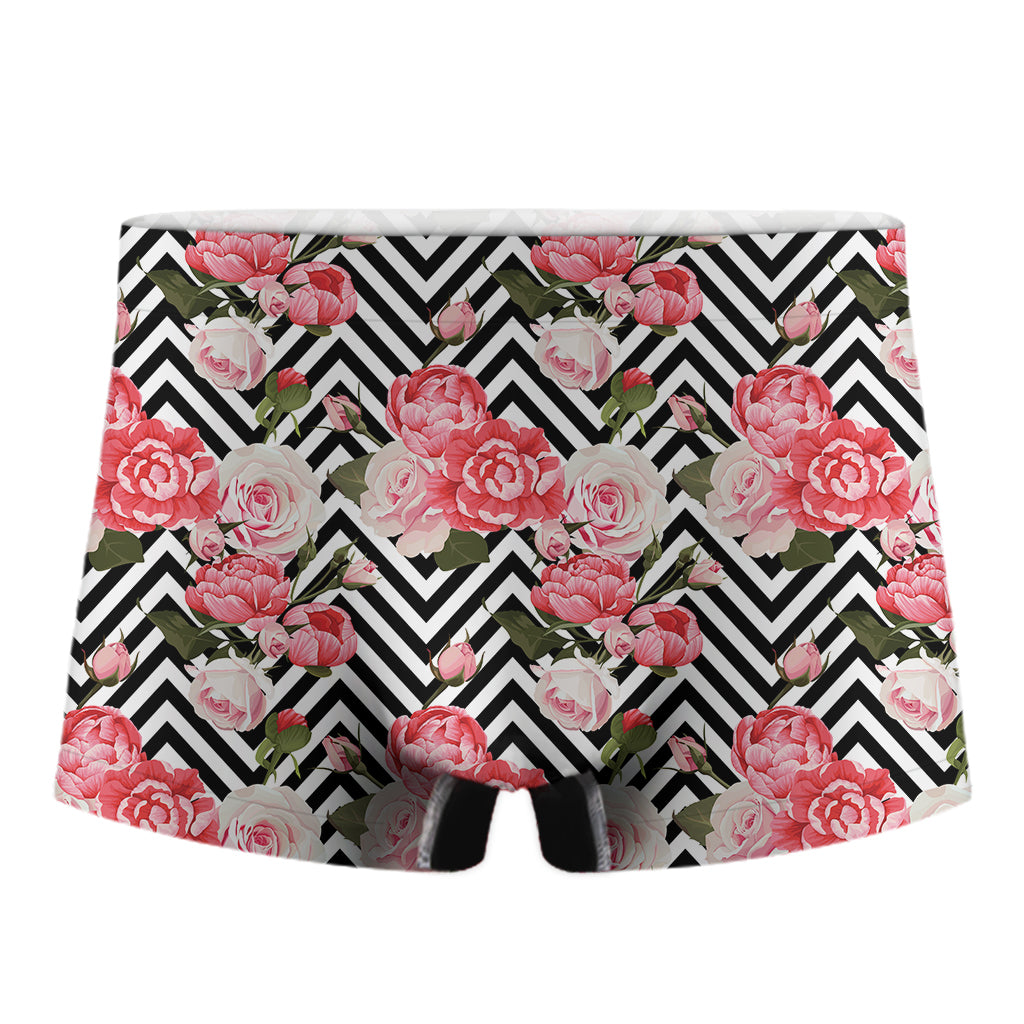 Zigzag Peony And Rose Pattern Print Men's Boxer Briefs