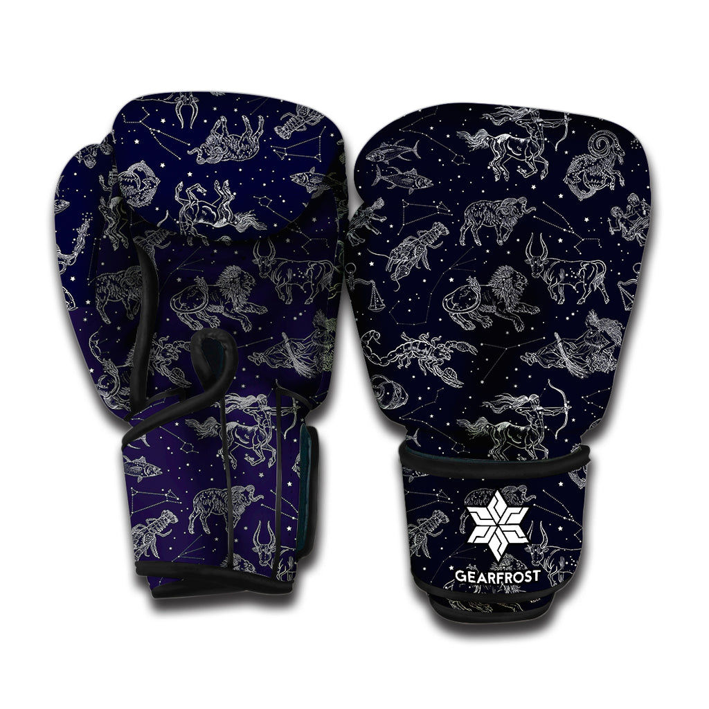 Zodiac Constellation Pattern Print Boxing Gloves