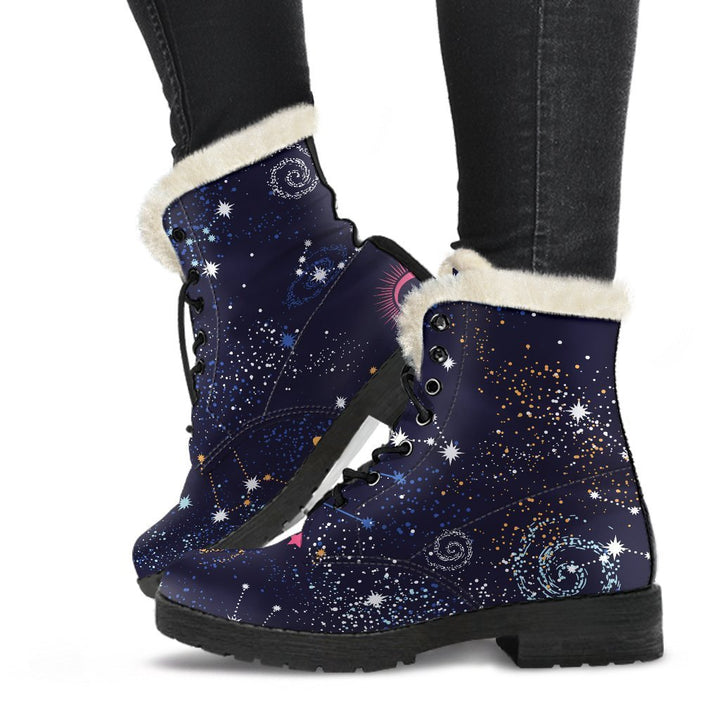 Zodiac Star Signs Galaxy Space Print Comfy Boots GearFrost