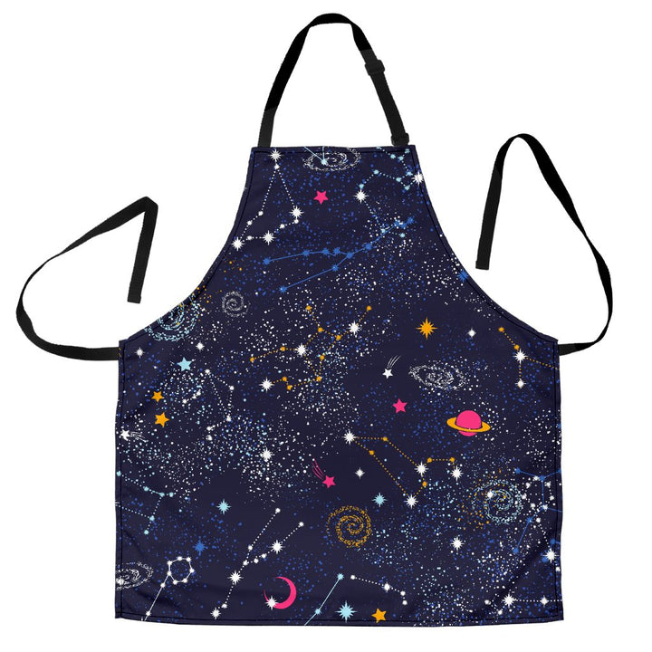 Zodiac Star Signs Galaxy Space Print Men's Apron GearFrost