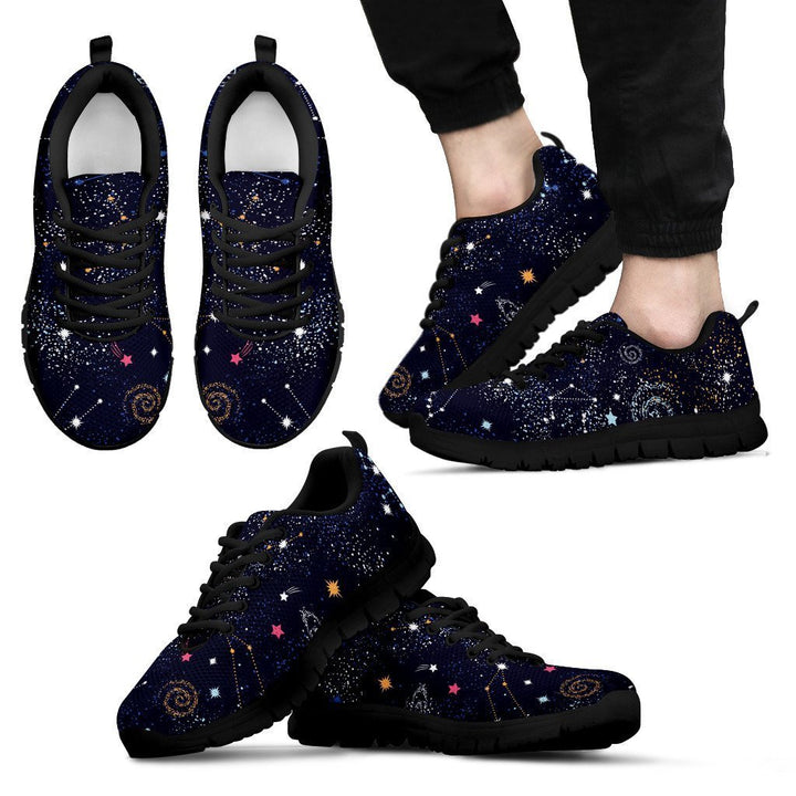 Zodiac Star Signs Galaxy Space Print Men's Sneakers GearFrost