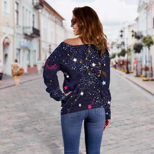Zodiac Star Signs Galaxy Space Print Off Shoulder Sweatshirt GearFrost