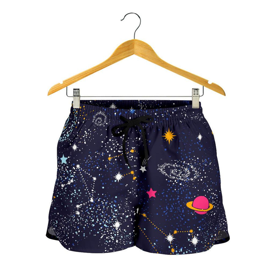 Zodiac Star Signs Galaxy Space Print Women's Shorts GearFrost