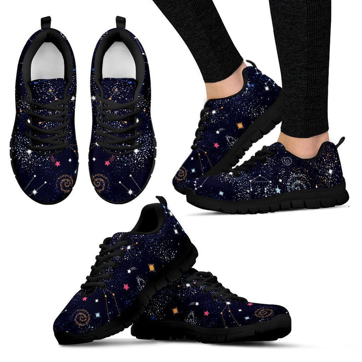 Zodiac Star Signs Galaxy Space Print Women's Sneakers GearFrost