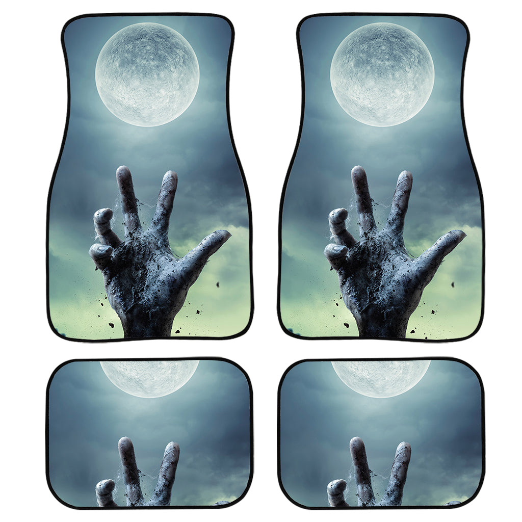 Zombie Hand Rising From Grave Print Front and Back Car Floor Mats