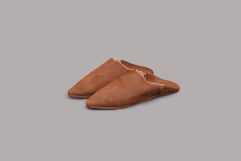 WOMEN'S COW LEATHER BAGHA SLIPPERS (CAMEL)