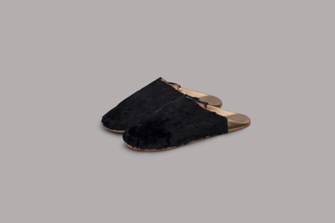 FUR FLAT SLIPPERS (BLACK&GOLD)