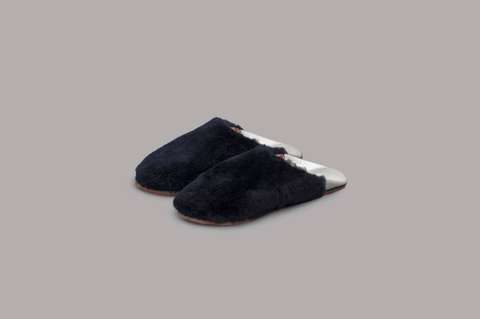 FUR FLAT SLIPPERS (BLACK&SILVER)