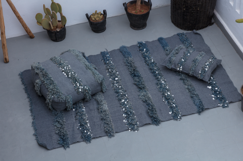 BERBER WEDDING BLANKET+ 2 PILLOWS (GREY)