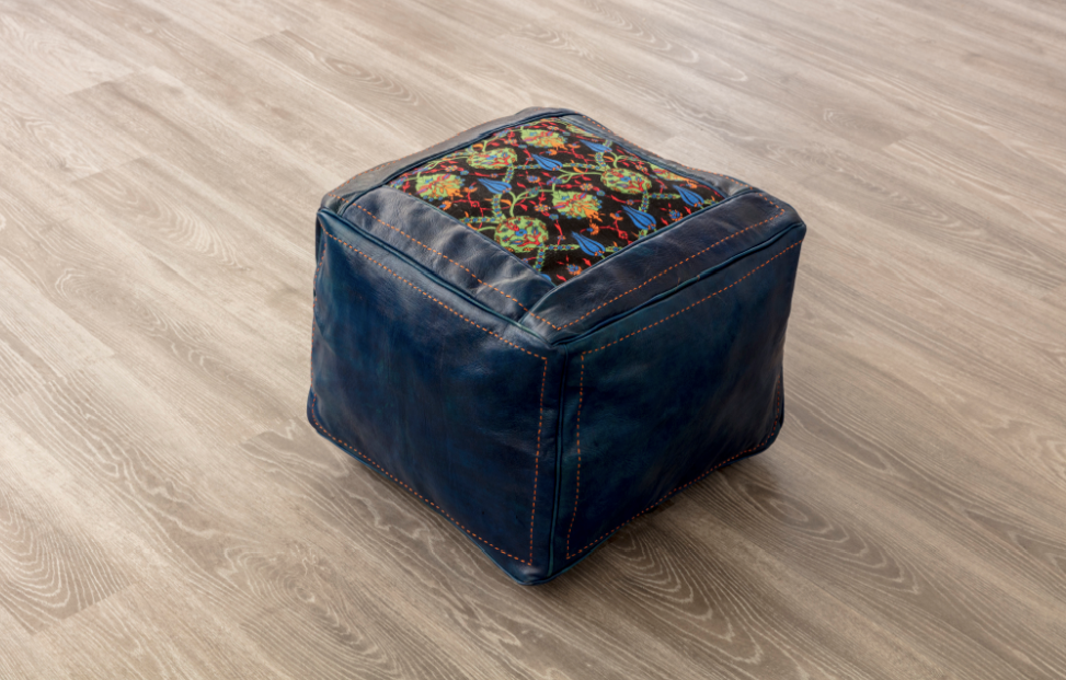 SMALL LEATHER POUF (MAJORELLE)