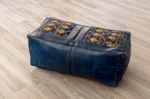 LARGE LEATHER POUF (MAJORELLE)