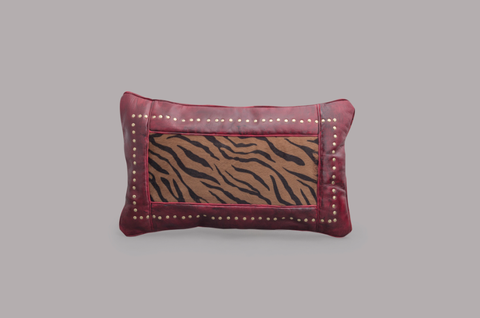 LEATHER RECTANGULAR CUSHION (BOURGOGNE)