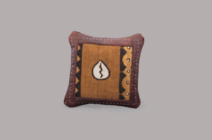 LEATHER SQUARE CUSHION (SAFARI)