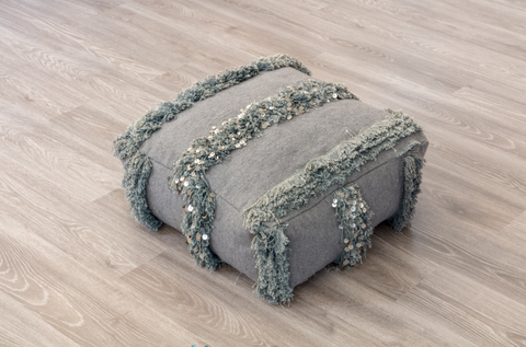 BERBER WEDDING BLANKET POUFS (GREY)