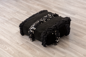 BERBER WEDDING BLANKET POUFS (BLACK)