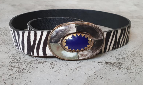 LEATHER & STONE BELT (ZEBRA)
