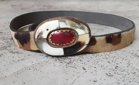 LEATHER & STONE BELT (ARMY)