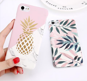 Pineapple & Leaf Print iPhone Case