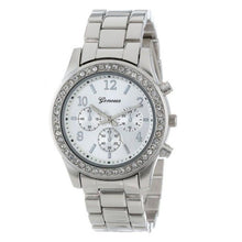 Geneva Crystal Stainless Steel Womens Quartz Watch - Silver - Watches