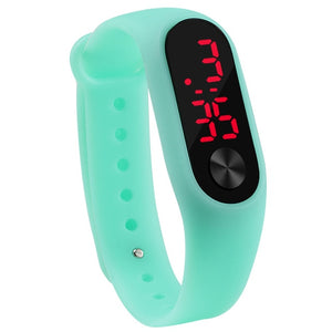 Sport Led Silicone Wrist Watch For Kids - Mint Green White - Watches