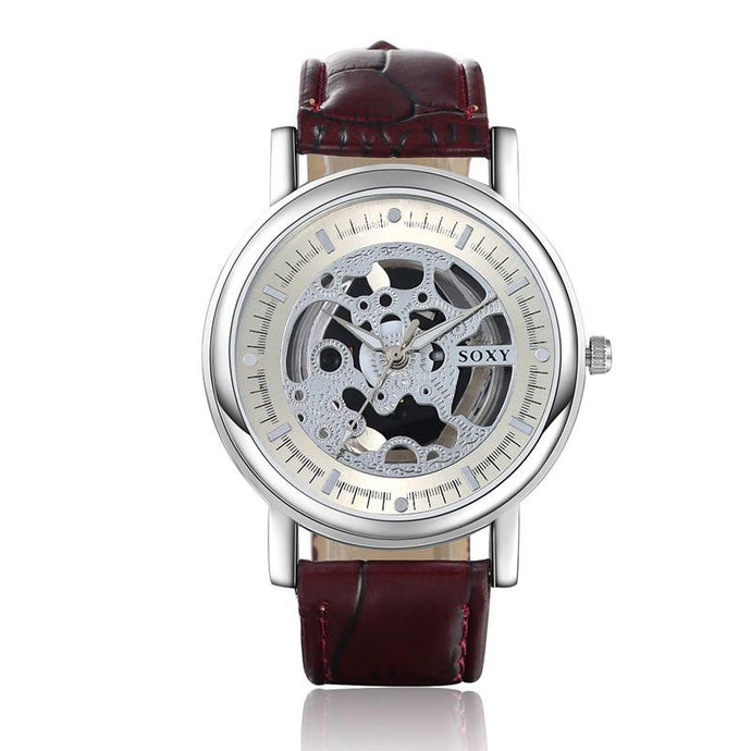 Skeleton Analog Watch - Brown And White - Watches