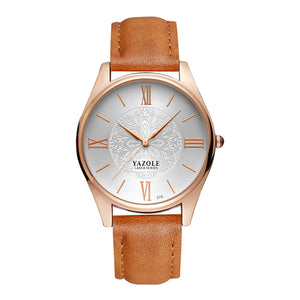 Yazole Mens Watch - Brown-White-Gold - Watches