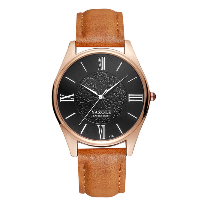 Yazole Mens Watch - Brown-Black-Silver - Watches