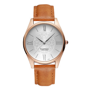 Yazole Mens Watch - Brown-White-Silver - Watches
