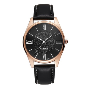 Yazole Mens Watch - Black-Black-Silver - Watches
