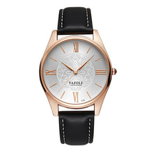 Yazole Mens Watch - Black-White-Gold - Watches