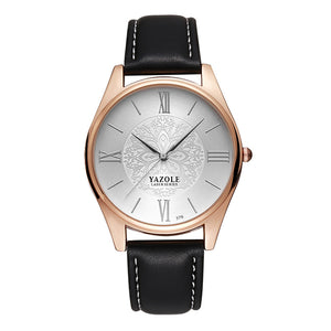 Yazole Mens Watch - Black-White-Silver - Watches
