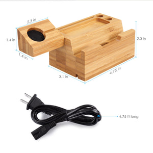 Bamboo Wood Apple Device Charging Station - Dapper Boulevard
