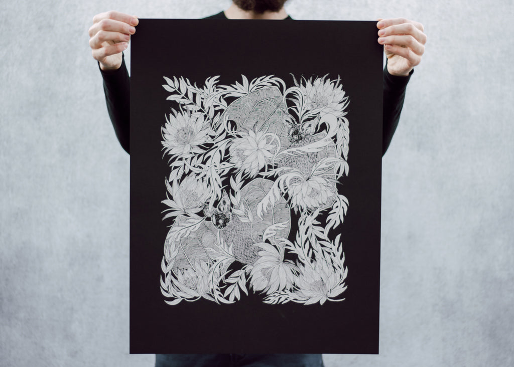 Bats and Night Blooming Cactus Poster