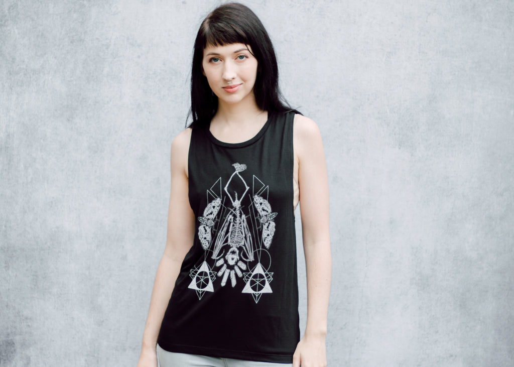 Hanging Bat Skeleton Muscle Tank