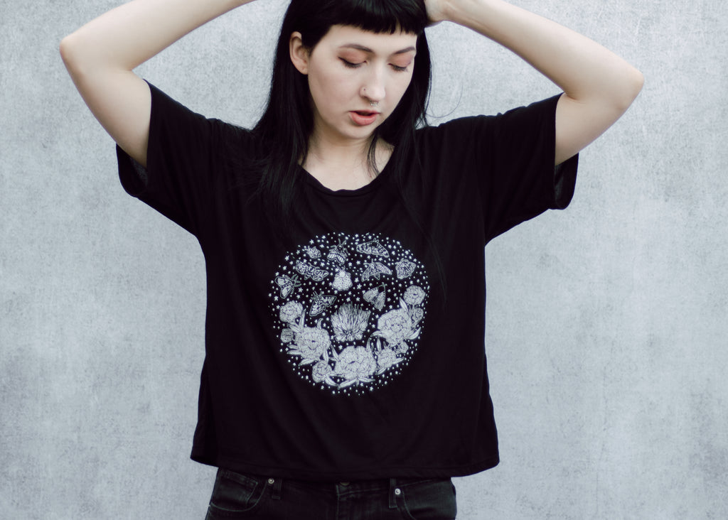 Moth and Flame Open Neck Crop Tee