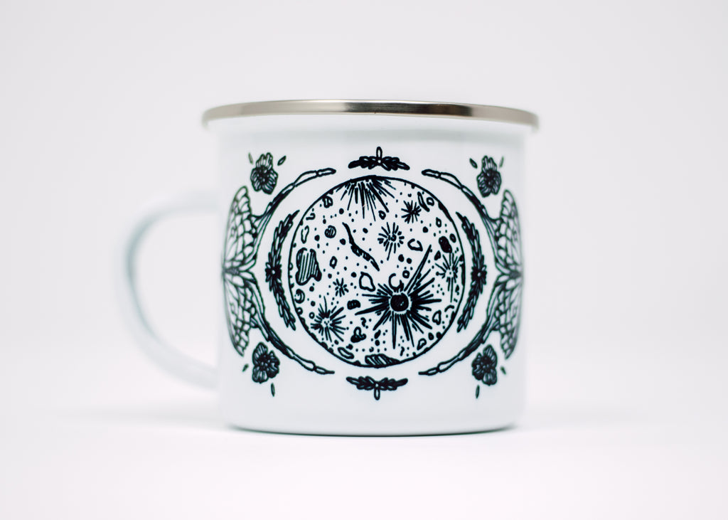 Luna Moth and Full Moon Enamel Camp Mug