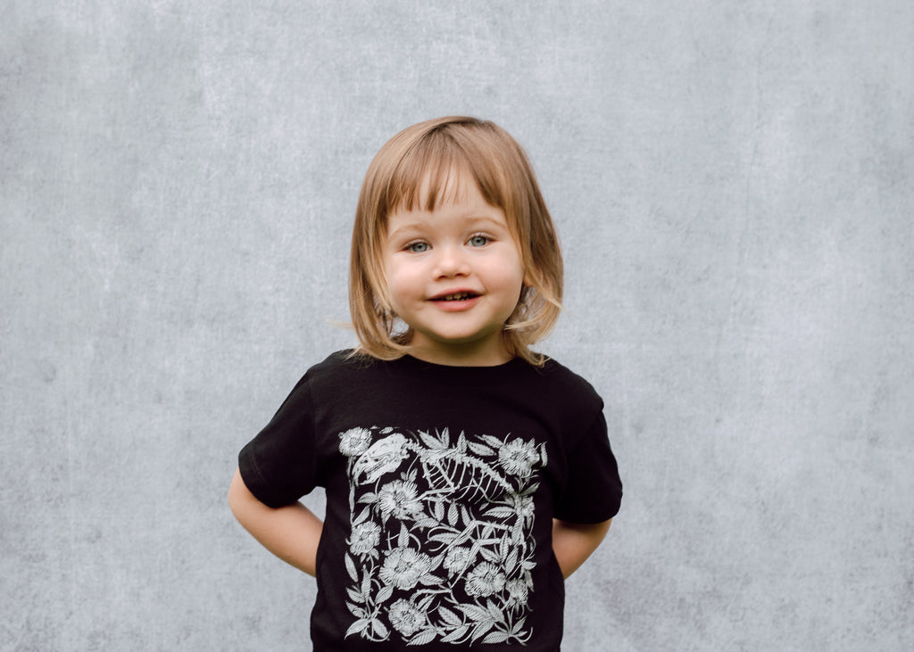 Kids Rat Skeleton and Floral T-Shirt