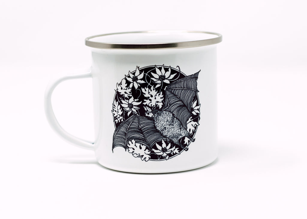 Vampire Bat Enamel Camp Mug