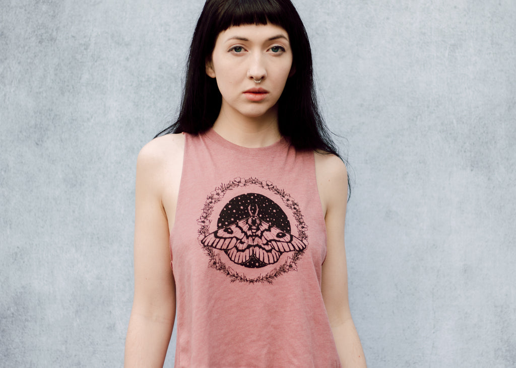 Moth and Stars Racerback Crop Tank