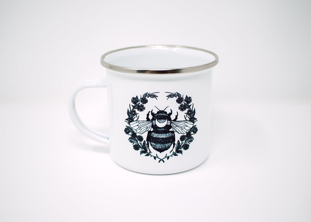 Honey Bee and Floral Camp Mug