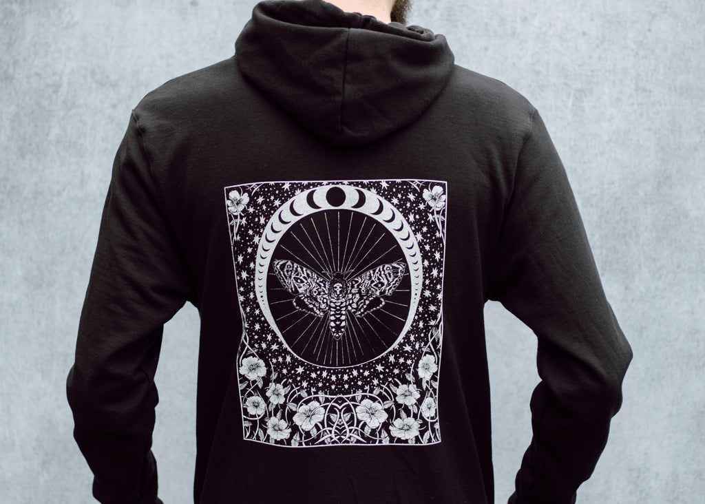 Death's Head Moth and Moon Hoodie