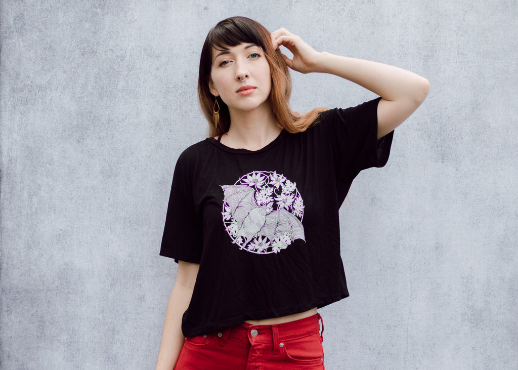 Vampire Bat Open Neck Crop Tee