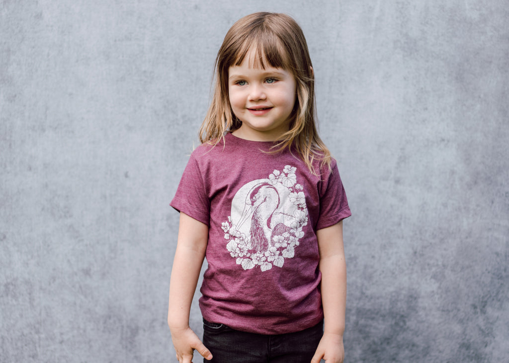 Kids Heron and Nasturtium T-Shirt