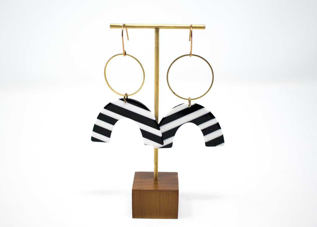 Stripe Arc and Hoop Earrings