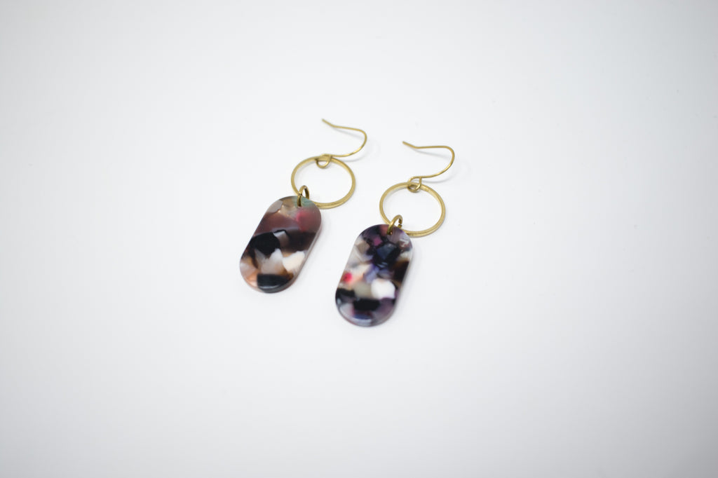 Rainbow Oval Earrings
