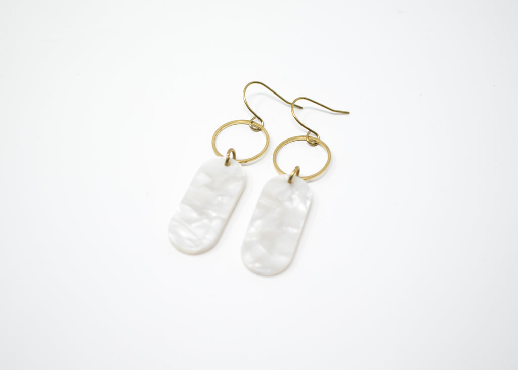 White Oval Earrings