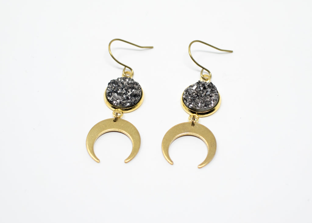 Gunmetal Druzy Moon Earrings