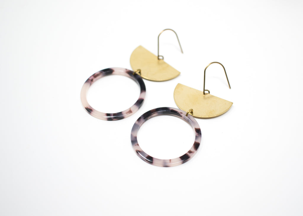 Tortoiseshell Hoop Arc Earrings