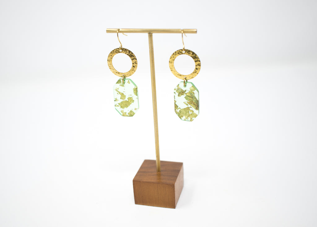 Green Flake Hex Earrings