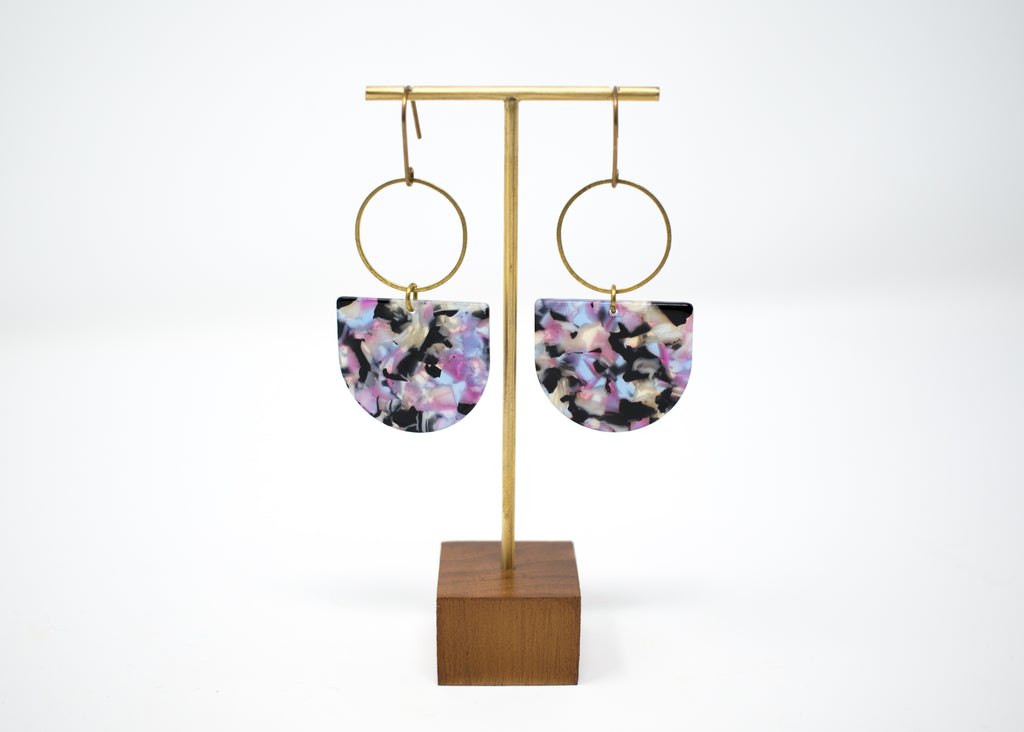 Purple Abstract Statement Earrings